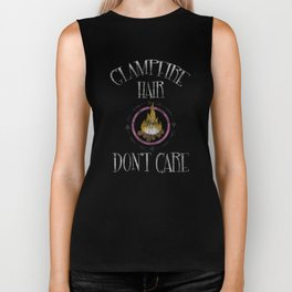 Glapfire Hair Don't Care Funny Glamping Distressed T-Shirt Biker Tank