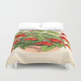 Red Begonias Duvet Cover