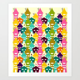 Colorful houses and cats Art Print