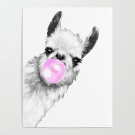 Bubble Gum Sneaky Llama Black and White Poster
