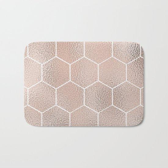 Rose gold foil honeycomb geometric Bath Mat