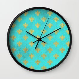 Queenlike on aqua I  Gold Heraldry elements on turquoise background Wall Clock