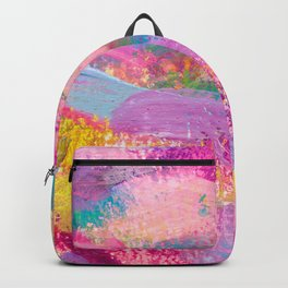 Colorful Rainbow Abstract Painting with Bold Brushstrokes Backpack