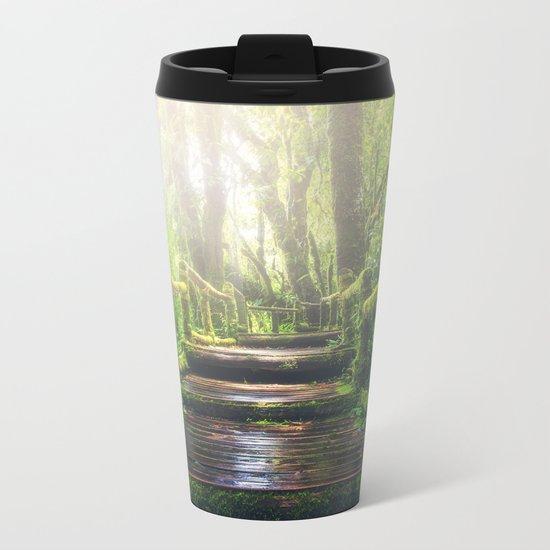 Green Jungle Forest Path Metal Travel Mug
