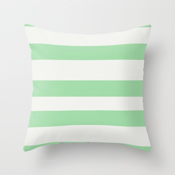 Linen Off White & Pastel Melon Green Hand Drawn Fat Line Pattern - 2020 Color of the Year Neo Mint Throw Pillow