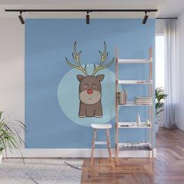 Cute Kawaii Christmas Reindeer Wall Mural