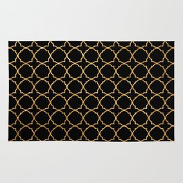 Elegant black faux gold glitter chic quatrefoil vector illustration Rug