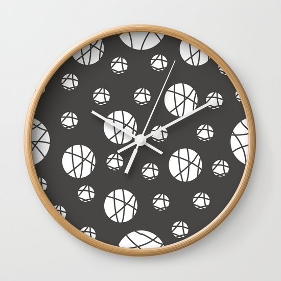 Broken Orbs (WhiteOnGray) Wall Clock