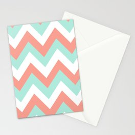 MINT & CORAL CHEVRON Stationery Cards