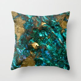 Teal Oil Slick and Gold Quartz Throw Pillow