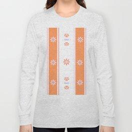 Orange and White Stripe Flower Pattern Long Sleeve T-shirt