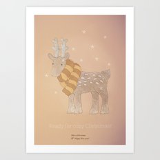 Christmas creatures- The Cozy Deer Art Print