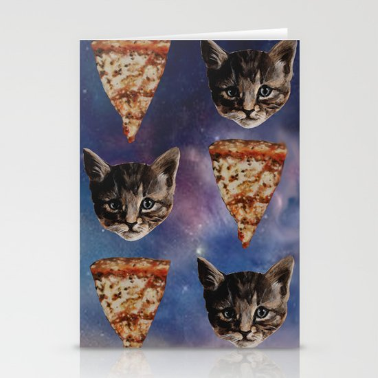 Kitten Pizza Galaxy  Stationery Cards