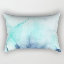 Wanderlust Teal Blue Watercolor Rectangular Pillow