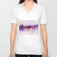 seoul V-neck T-shirts featuring Seoul skyline in watercolor background by Paulrommer