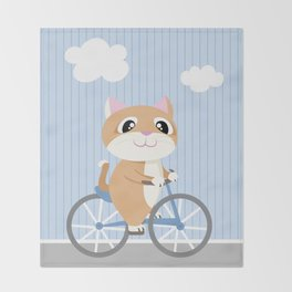 Mobile series bicycle cat Throw Blanket