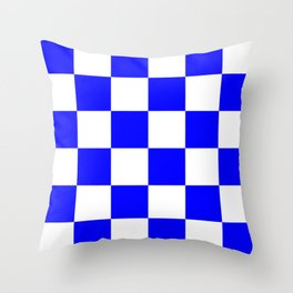 Large Checkered - White and Blue Throw Pillow