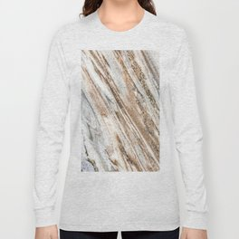 Marble Slab Texture // Gold Silver Black Gray White Stripes Luxury Rugged Rustic Rock Long Sleeve T-shirt