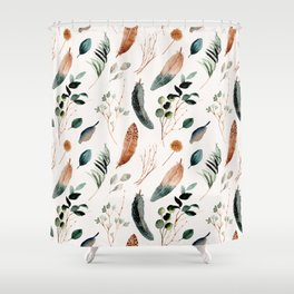 Rustic Boho Feather and Folliage Shower Curtain