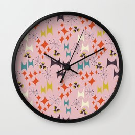Deviled Starbursts Pink Wall Clock