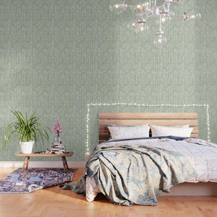 Boho Herringbone Pattern, Sage Green and White Wallpaper