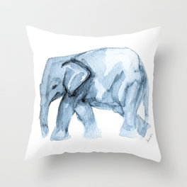 Elephant Sketch in Blue Throw Pillow