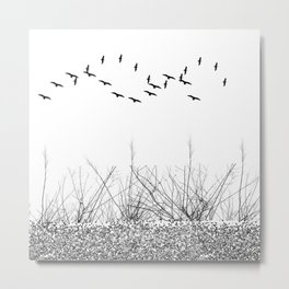 black and white winter landscape Metal Print