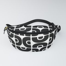 Groovy Mid Century Modern Pattern Black and White Fanny Pack