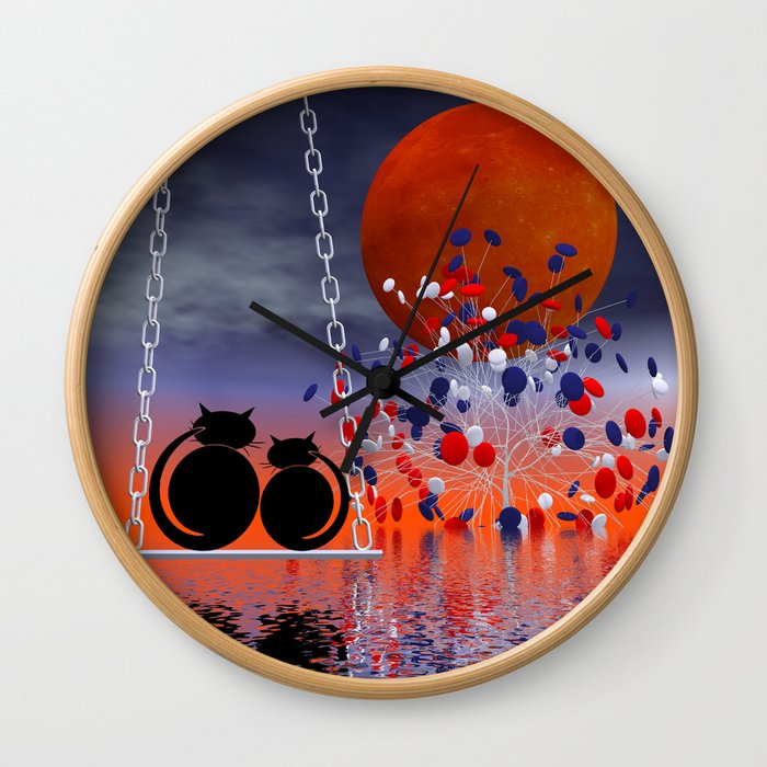 mooncats and their candytree Wall Clock