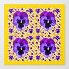PURPLE PANSIES  FLOWERS & YELLOW PATTERNS  ART Canvas Print