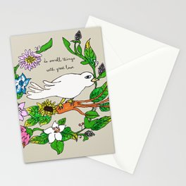 Tarachand's Floral Wreath and Bird with Mother Teresa quote Stationery Cards