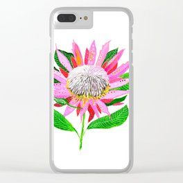Pink Banksia Clear iPhone Case