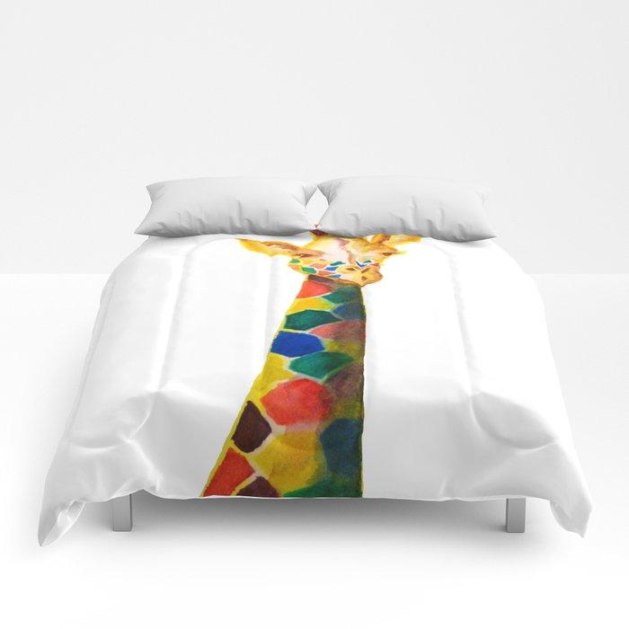 Giraffe Watercolor Print Comforters