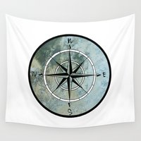 compass Wall Tapestries featuring Compass by madbiffymorghulis