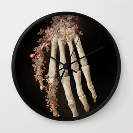 """""""Spring 1"""" skull and flowers Wall Clock"""