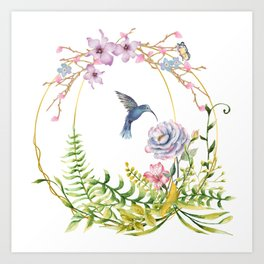 Glittering Golden Floral Hummingbird Terrarium Art Print