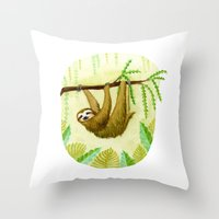 sloth Throw Pillows featuring Sloth by Kirsten Sevig