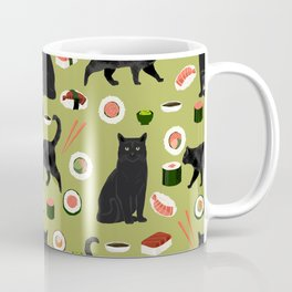 Black cat sushi cat breeds cat lover pattern art print cat lady must have Coffee Mug