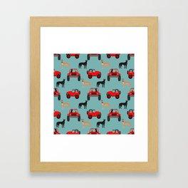 Great Dane jeep car dog breed pattern custom pet portrait Framed Art Print