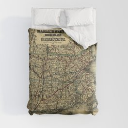 Vintage Map of Southern New England: Connecticut, Rhode Island, and Massachusetts Comforters
