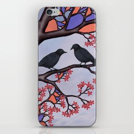 spring crows in the stained glass tree iPhone Skin