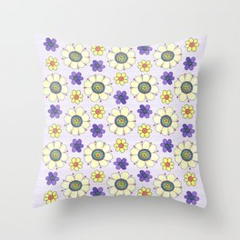 Crazy Daisies Lavender Throw Pillow