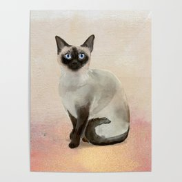 Siamese Cat Watercolor Painting Blush Pink Gold Poster