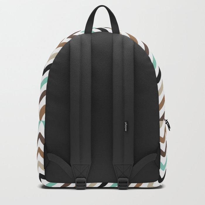 Aqua, Brown, and Black Chevron Stripes Backpack