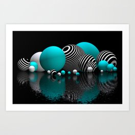 pebble bed -turquoise- Kunstdrucke