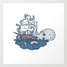 Kraken Attacking Sailing Galleon Doodle Art Color Art Print