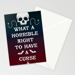 Gamer Geeky Chic Castlevania Inspired What a Horrible Night to Have a Curse Stationery Cards
