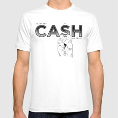 In Johnny Cash We Trust. Mens Fitted Tee MEDIUM White