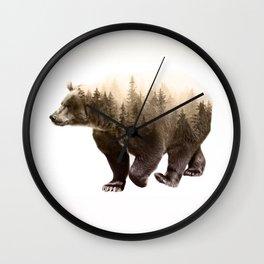 In It's Element - Brown Bear Double Exposure Art Print Wall Clock