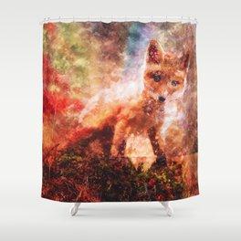 CUTE LITTLE BABY FOX CUB PUP Shower Curtain